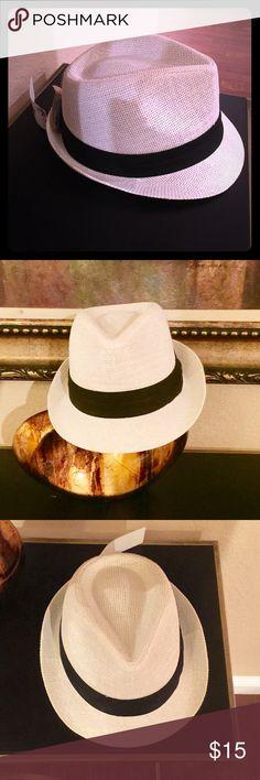 White Unisex  Fedora  Man or Female Hat White Unisex Fedora  Hat with black trim.  Male or Female wear. Accessories Hats