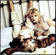 Kurt Cobain and Courtney Love with Frances Bean Cobain in 1992