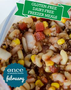 Gluten Free Dairy Free February 2013 Freezer Meal Menu | OAMC from Once A Month Mom #freezer #glutenfree #dairyfree