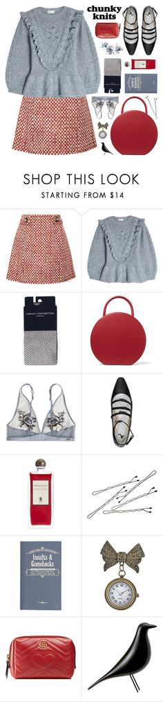 """get cozy: chunky knits"" by jesuisunlapin ❤ liked on Polyvore featuring Prada, RED Valentino, French Connection, Mansur Gavriel, Serge Lutens, BOBBY, Independent, Gucci, Vitra and vintage"