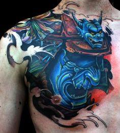 Blue Samurai Mask Tattoo