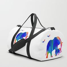 Elephant mom and baby Duffle Bag by laureenr Cute Elephant, Duffle Bags, Mom And Baby, Gym Bag, Girly, Backpacks, Stuff To Buy, Collection, Women's