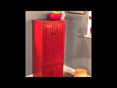 Best Tall Kitchen Cabinet - Red - Has Two Fixed and Two Adjustable Shelves