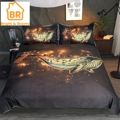 Bronzing Whale Duvet Cover Golden Quilt Cover Bedding Print Comforter Cover with 2 Pillow Cases Comforter Cover, Comforter Sets, Duvet Cover Sets, Luxury Duvet Covers, Luxury Bedding, Bedclothes, Queen Bedding Sets, Duvet Bedding, Black Bedding