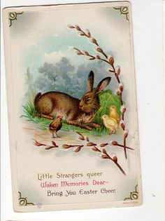 Happy Easter  Rabbits Chicks and Egg  by sharonfostervintage, $3.50