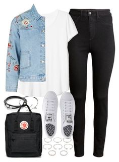 """""""Outfit with an embroidered denim jacket for college"""" by ferned on Polyvore featuring H&M, Cartier, Forever 21, Topshop, Fjällräven and adidas"""