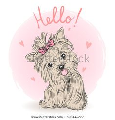 Small, cute puppy girl. Vector illustration.