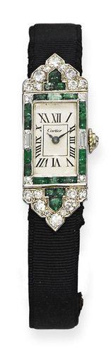 Art Déco - Montre 'Tank' - Diamants et émeraudes - Cartier - 1925