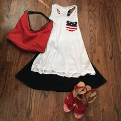 What will you wear July 4th...what about this?  What will you wear for July 4th?!  this tank is Super flowy & soft it  is perfect under the Vintage American Flag poncho!  White front with flag pocket and white racerback (not red) with a flag bow!  So cute!  Everything in picture for sale on my page! Tops Tank Tops