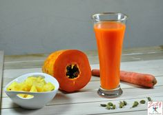 Papaya Pineapple Carrot Juice With Touch of Cardamom: Super Energy Drink