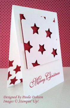 handmade Christmas card from Stampinantics . negative cut stars reveal red glitter paper backing . luv it!Stampin' Up! - I would add a ribbon under the square though Homemade Christmas Cards, Christmas Cards To Make, Homemade Cards, Handmade Christmas, Holiday Cards, Christmas Stars, Minimal Christmas, Christmas Music, Christmas Movies