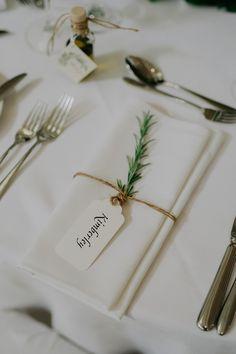 Sprig Napkin Tie + Tag Place Setting from a Stylish & Elegant Wedding on Kara's Party Ideas Wedding Tags, Cute Wedding Ideas, Wedding With Kids, Wedding Favors, Wedding Decorations, Diy Wedding, Wedding Blush, Blue Wedding, Wedding Venues