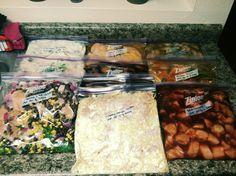 10 freezer to crockpot meals - Teriyaki Chicken, Chicken Fajitas