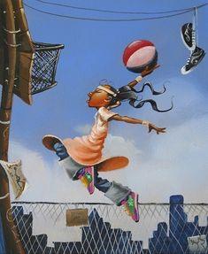 "DUNK - Frank Morrison Artwork for ""QUEEN OF THE SCENE"" Children's Book by Queen Latifah"