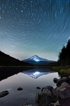 The Most Impressive Star Trail Photographs. Love looking at the stars. And right in the center is the North Star.