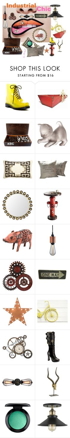 """""""Industrial Chic"""" by plumsandhoneyvintage ❤ liked on Polyvore featuring interior, interiors, interior design, home, home decor, interior decorating, Furla, Daum, Jonathan Adler and Noir"""