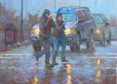 Original Cities Painting by German Jaramillo-mckenzie City Rain, Oil On Canvas, Canvas Art, Original Art, Original Paintings, Figurative Art, Impressionism, Buy Art, Saatchi Art
