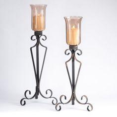 Mocha Glass & Metal Candle Holder, Set of 2 Metal Candle Holders, Glass Holders, Arte Judaica, Tuscan Decorating, Elegant Homes, Living Room Decor, Dining Room, Wrought Iron, Candle Sconces