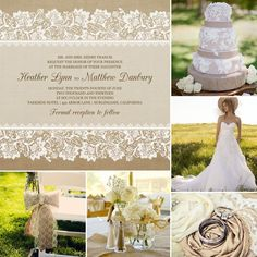 Burlap and Lace Wedding Invitations #mixbook