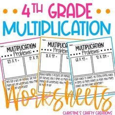 24 multiplication worksheets! These are great for small group instruction, math centers, whole group instruction, morning work, etc. -Answer key included...