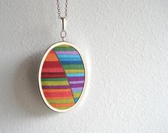 Colorful oval fabric pendant necklace by filamentostore on Etsy, $22.55