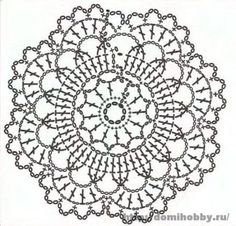 Motivi per uncinetto, small round crochet motif, doily or coaster Más Crochet Mandala Pattern, Crochet Doily Patterns, Crochet Diagram, Crochet Chart, Crochet Squares, Crochet Placemats, Crochet Dollies, Crochet Diy, Crochet Round