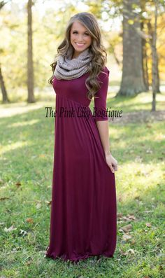 This gorgeous and versatile maxi is the perfect fall dress that you'll been looking for! We love the amazingly soft wine fabric paired with the comfortable 3/4 sleeves - it's a knockout combination!