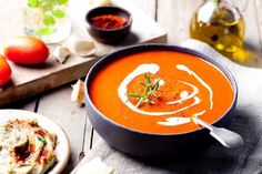 Looking for a yummy and healthy tomato soup recipe? We've listed some amazing tomato soup recipes by Sanjeev Kapoor which taste amazing and are equally healthy. Healthy Tomato Soup Recipe, Tomato Soup Recipes, Curried Butternut Squash Soup, Roasted Tomato Soup, Roasted Garlic, Batch Cooking, Healthy Cooking, Snack Recipes, Healthy Recipes