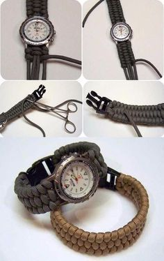 Learn how to make your own watch strap. - Tutorial: Learn how to make your own watch strap., -Tutorial: Learn how to make your own watch strap. - Tutorial: Learn how to make your own watch strap. Paracord Watch, Paracord Belt, Paracord Bracelets, Paracord Tutorial, Bracelet Tutorial, Diy Jewelry Unique, Diy Jewelry Making, Make Your Own Bracelet, Diy Jewelry Holder
