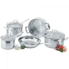 The Scanpan Impact Cookware Set 5 Piece offers a versatile collection of pots and pans to cater for your cooking needs. Whether it be frying, steaming, boiling, stewing or roasting, the Scanpan Impact Cookware Set 5 Piece has you covered with outstandi Pot Sets, Cookware Set, Kitchenware, Home Kitchens, Stainless Steel, Saucepans, Steamer, Denmark, Frugal