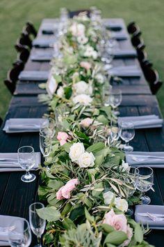 Chic Rustic Glam Wedding Long Table Centerpieces Centerpieceswedding Reception Flowerswedding Flower Arrangementsfl