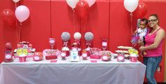 Pink candy buffet by candied confections