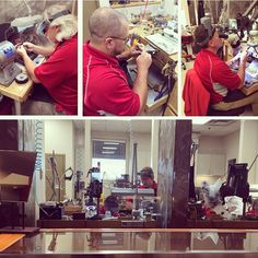 Our jewelry shop team... hard at work as always! Did you know that we offer a variety of services including custom design & professional repair?
