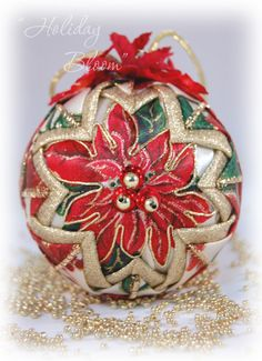 Holiday Bloom  Red and Gold Poinsettia Christmas Ornament