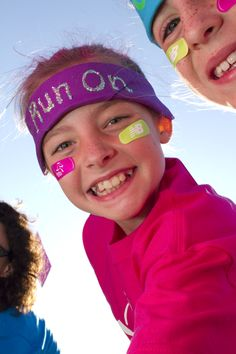 Is it going to be a chilly morning for a 5k? Buy fleece ear warmers and write a glittery message on it!
