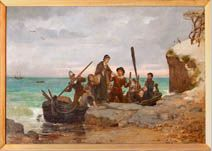 The Landing of the Pilgrims by Henry A. Bacon (1839-1912), painted in 1877. The painting depicts Mary Chilton stepping ashore. According to family tradition (although this is without historical foundation), Mary was the first person to set foot on Plymouth Rock. Mary was the 15 year old daughter of James and Susanna Chilton, both of whom died in the first winter. She married John Winslow in 1624.