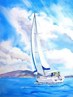 Art Prints on Paper, Canvas, Metal, Acrylic & Wood. Shop a variety of products for your Home Décor & Lifestyle. Unique Watercolor Paintings by artist Carlin Blahnik of CarlinArtWatercolor Sailboat Art, Sailboat Painting, Sailboats, Watercolor Paintings, Original Paintings, Watercolor Ocean, Contemporary Art Prints, Thing 1, Seascape Paintings