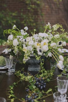 Lovely white and green arrangement for a table