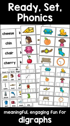 """This interactive phonics pack for kindergarten and first grade contains 9 engaging, interactive phonics activities for words with beginning & ending digraphs. Most words are short vowel words, but there may be an occasional long vowel included. The centers include teacher directions and kid friendly """"I Can"""" cards with audio QR codes. They are an awesome supplement to your phonics instruction! $"""