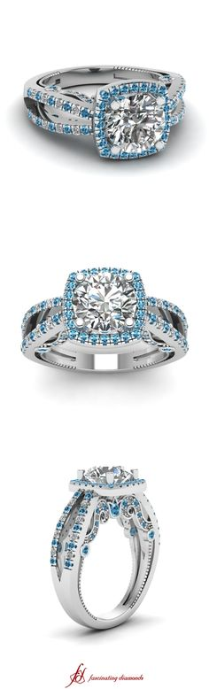 Luxurious Halo Ring ||  Round Cut Diamond Side Stone Ring With Ice Blue Topaz In 14K White Gold