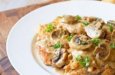 Recipe for Easy Chicken Marsala - Fresh mushrooms are sautéed in butter and garlic then tossed in cream that's flavored with Marsala. Your family will think you slaved over a hot stove for hours! Try this quick and easy dinner. Low Carb Recipes, Cooking Recipes, Healthy Recipes, Cooking Tips, Delicious Recipes, Dinner Recipes, Great Recipes, Favorite Recipes, Easy Recipes
