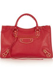 Holiday Collection City medium textured-leather tote