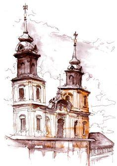 Check out Original Holy Cross Church Warsaw Poland  Landscape Watercolor Art Print, Watercolor Print, Poster, Giclee Print [LAN 81-5] on paintersville