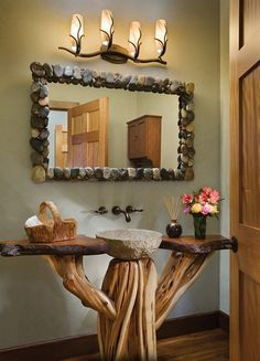 Stone mirror and sink, natural wood vanity design ideas decorating before and after interior room design design Log Home Bathrooms, Rustic Bathrooms, Wood Bathroom, Bathroom Ideas, Bathroom Furniture, Bathroom Renovations, Bathroom Interior, Lodge Bathroom, Cabin Homes