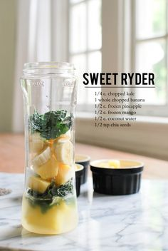 Simple Summer Smoothies: kale, banana, pineapple, mango, and coconut water.