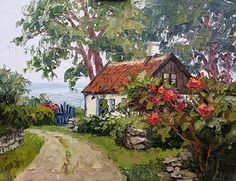 Waterfront Cottage by Erin Dertner Oil ~ 11 x 14 Landscape Pictures, Landscape Paintings, Watercolor Paintings, Cute Cottage, Cottage Art, Waterfront Cottage, Caribbean Art, House Landscape, French Countryside