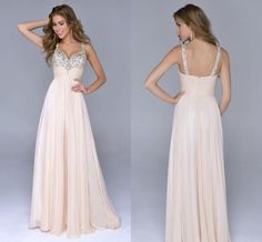 Cheap Prom Gowns - Discount 2015 Crystal Nude Chiffon Beaded Prom Evening Dresses Online with $103.67/Piece   DHgate