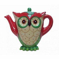 Owl Teapot - Red and Green Red Teapot, Cute Teapot, Café Chocolate, Teapots Unique, Tea Pot Set, Teapots And Cups, Mad Hatter Tea, Owl Art, Vintage Tea