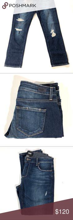 "NWT PAIGE Distressed Brigitte Boyfriend Jeans New. Mid rise, distressed, boyfriend. Stretch. Dark wash. Size 26. 98% cotton, 2% elastane. Waist about 30"", rise about 9"", inseam about 27.75"".   529 PAIGE Jeans Boyfriend"