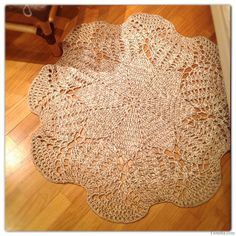 Crocheted big doily-carpet for floor